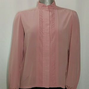 Vintage Pink Pin Tuck Pleated Dress Blouse 14